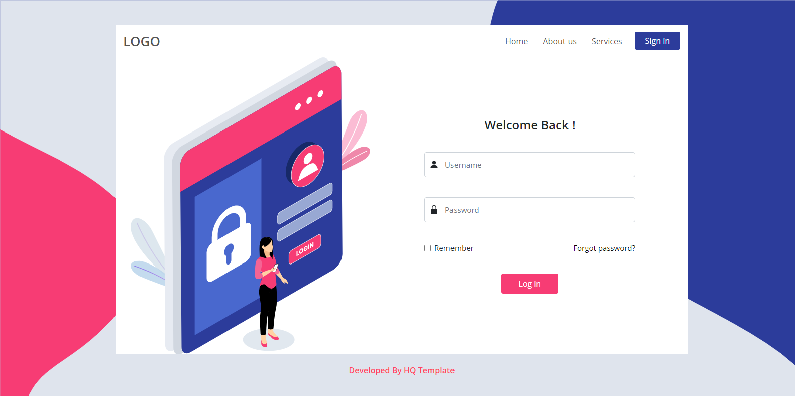 Login page HTML template