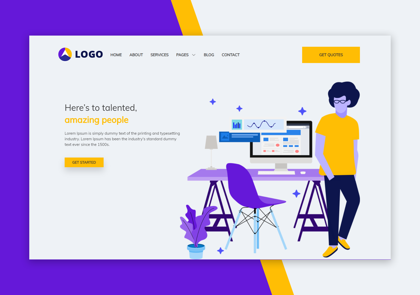 Startup : landing page HTML template