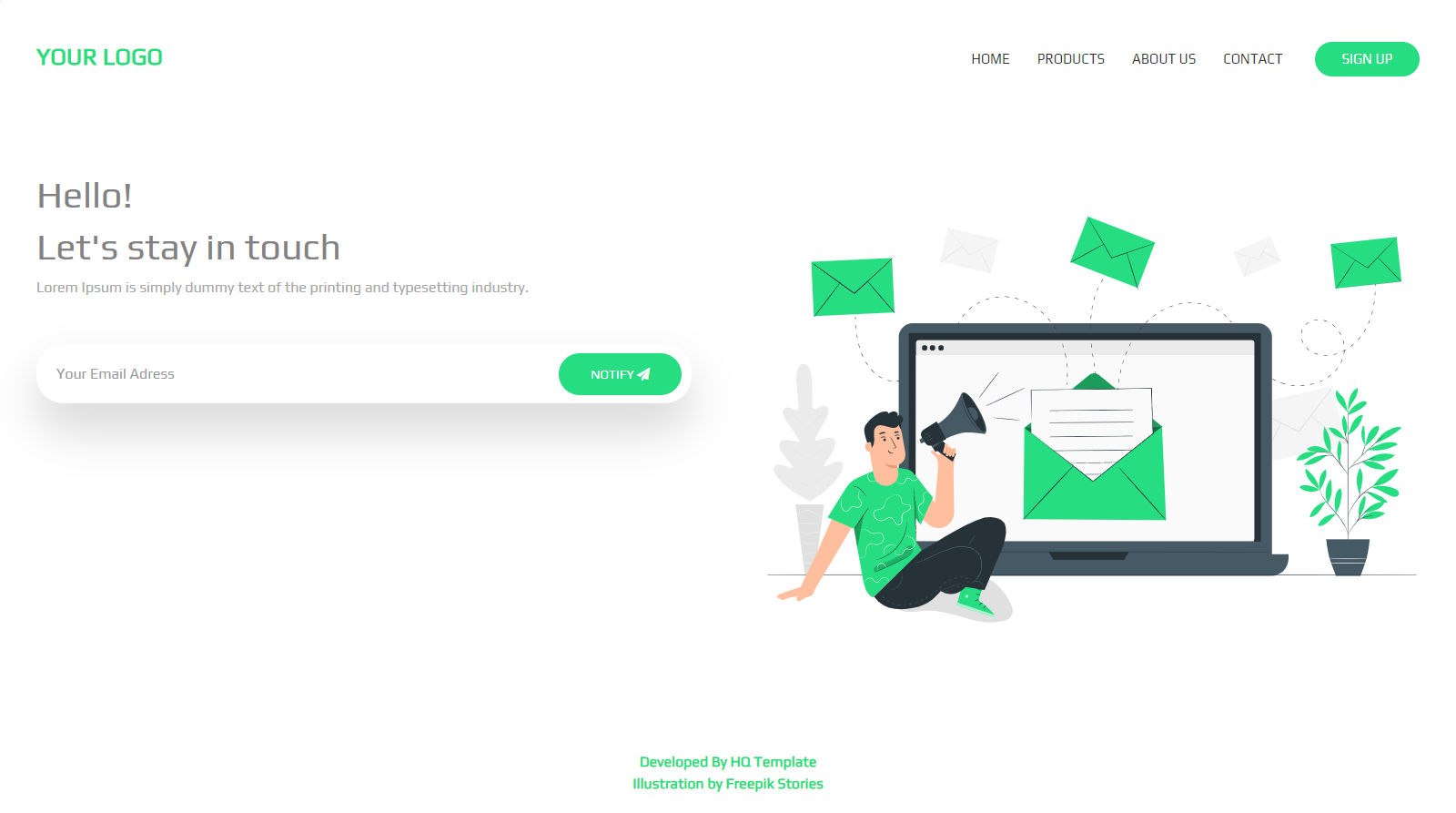 Landing Page HTML Template (green)