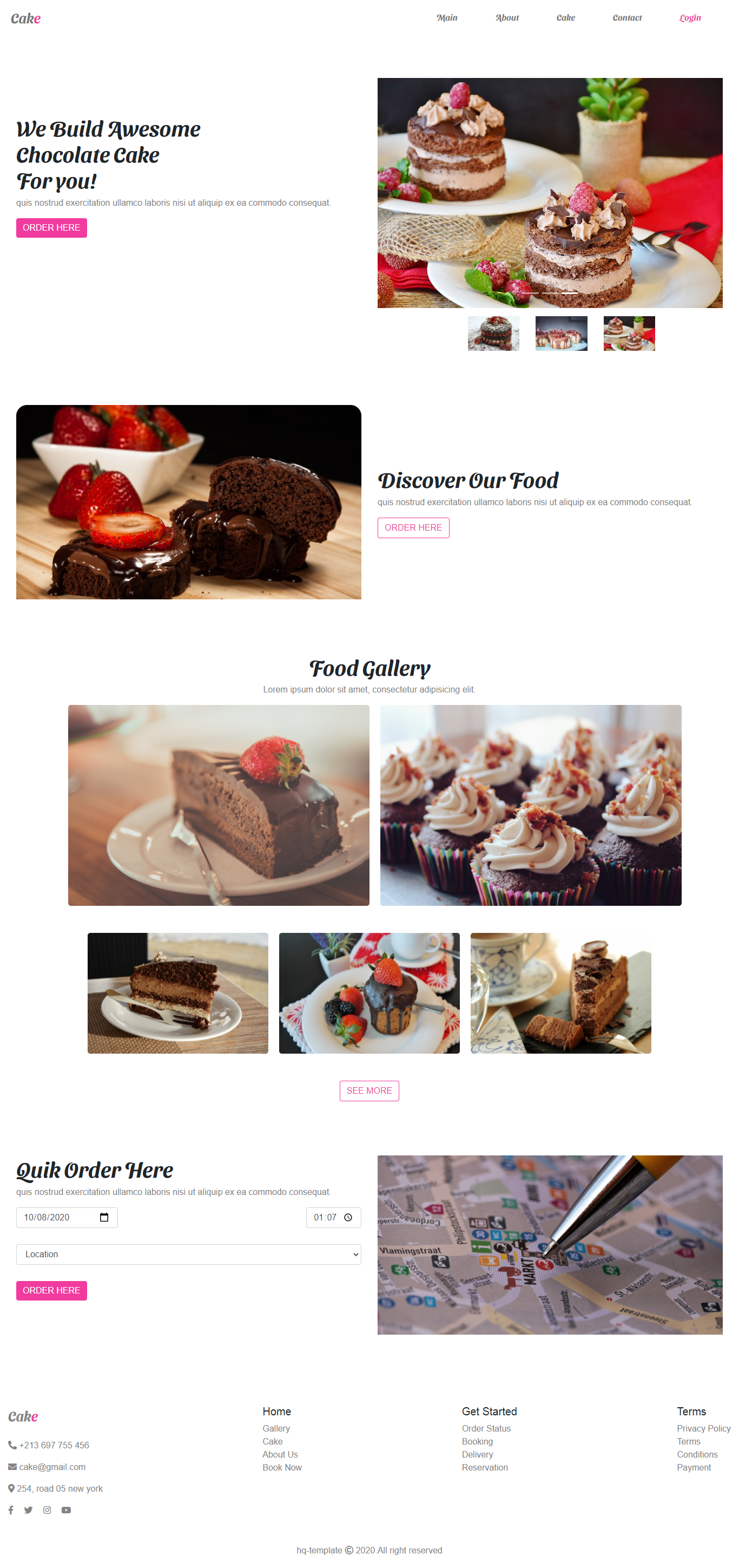 Bootstrap Cake Landing Page