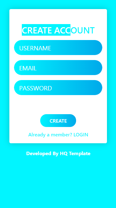 Creative HTML Register Page