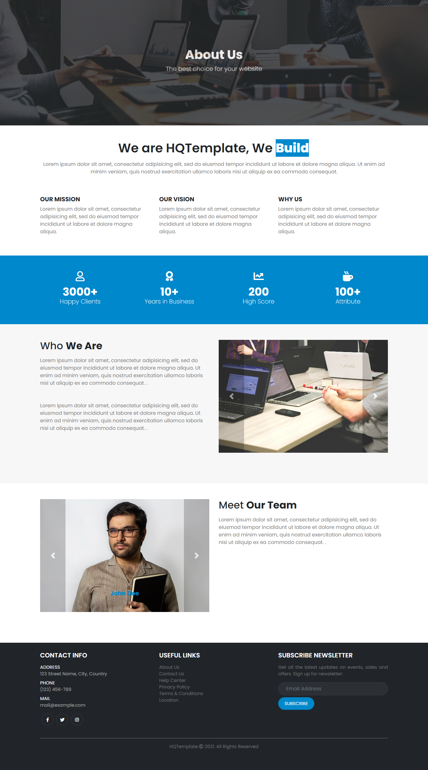 Bootstrap Full Page About Us