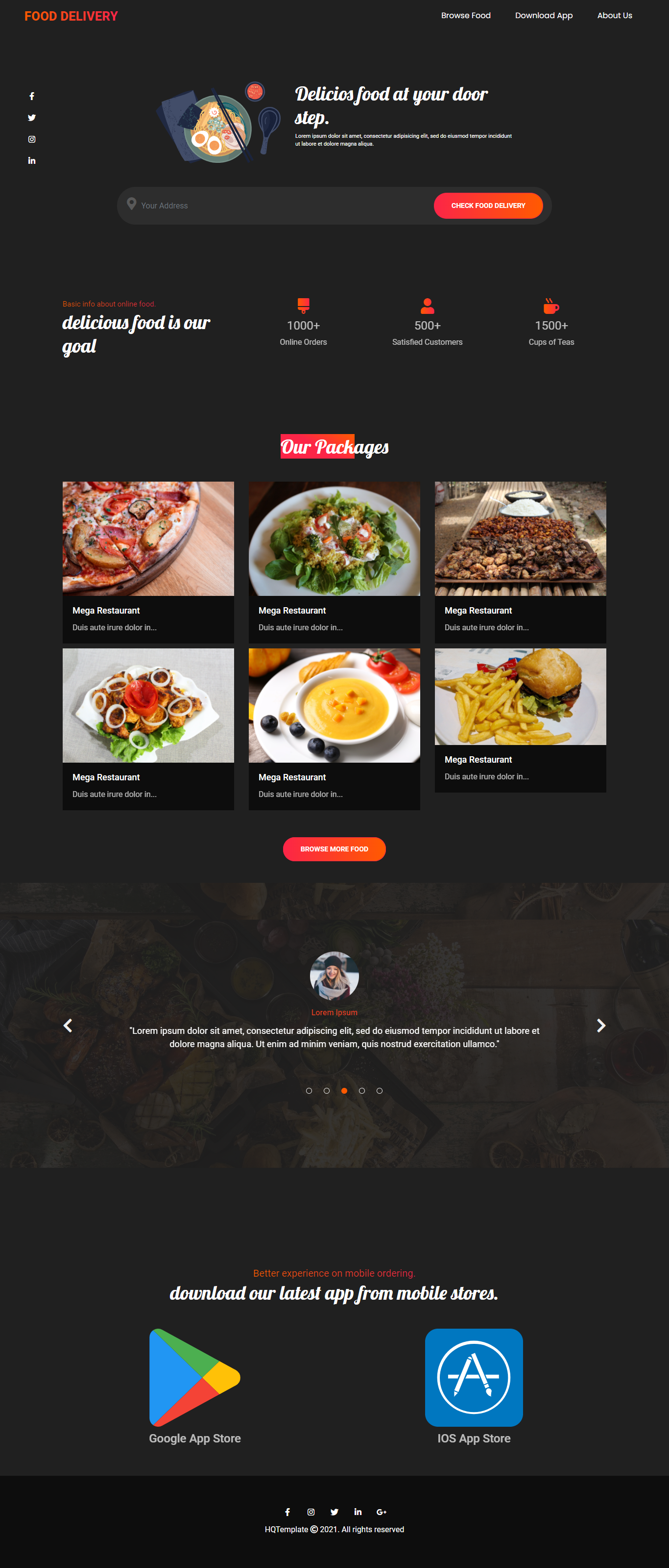 Full Page Food Delivery Landing Page